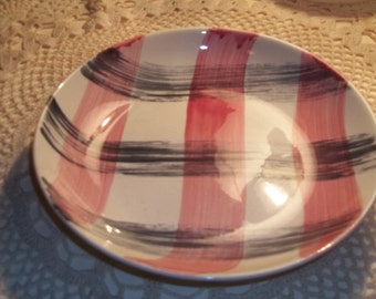 Vintage Stetson China Scotts Clan Pink Charcoal Plaid Dinner bowl