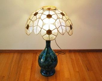Vintage Large Capiz Shell Light Shade, Shell Shade Boho Chic Mid Century