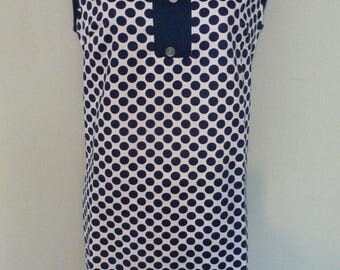 Vintage 1960s Mod Handmade Navy Spot Cotton Sleeveless Outdoor Summer Dress. Goodwood. Size 12/14