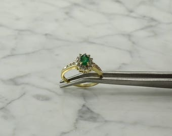 Emerald Diamond 14K Gold Ring (size 7)
