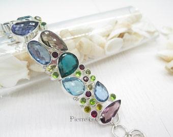 Blue Topaz Smoky Topaz Emerald Quartz Garnet Sterling Silver Bracelet