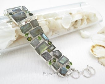 Faceted Blue Fire Labradorite and Peridot Sterling Silver Bracelet