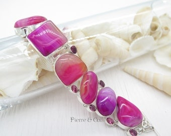 Pink Lace Agate and Kunzite Sterling Silver Bracelet