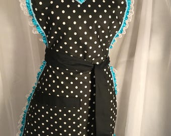 Handmade Black with White Polka Dots Apron with White Lace & Teal Ribbon