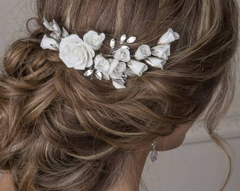 Floral bridal hair comb  Flower hair piece Bridal headpiece  Bridal hair accessories  Boho hair piece  Wedding headpiece