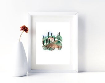 Watercolor Landscape Painting Landscape Art Italy Painting Tuscan Art Italian Landscape Nature Painting Tuscany Wall Art Download Print
