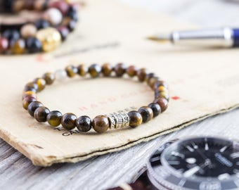 6mm - Tiger eye beaded stretchy bracelet, yoga bracelet, mens bracelet, womens bracelet