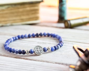 4mm - Matte Sodalite beaded stretchy bracelet with sterling silver beads, made to order mens beaded bracelet, mens bracelet, womens bracelet