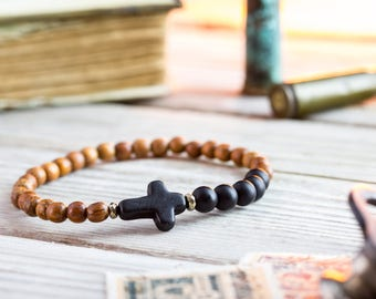 6mm - Matte black onyx & sandalwood beaded stretchy bracelet with black cross, made to order bracelet, mens bracelet, beaded bracelet