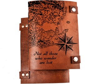 Travel journal - leather journal - personalized journal - travel notebook - custom journal - not all those wander are lost - sketchbook