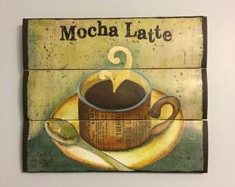 Mocha latte coffee wooden wall decor - Kitchen decor - Wooden wall art