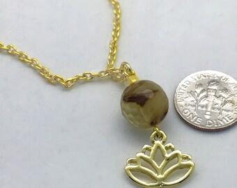 Gold Necklace Lotus Flower, yoga jewelry, boho, Quartz Crystal Gemstone, flower necklace