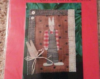 Bunny Mini Quilt - Bunny Mini Pin #78 by Patrice and Company - Homespun Muslin Bunny Stitchery Wall Hanging - Uncut Craft Pattern