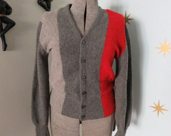 Vintage 1950s mens gray paneled wool cardigan sweater S 389