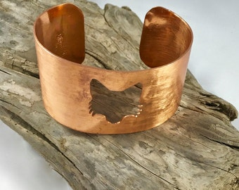 copper cuff bracelet - fox cuff - fox bracelet - fox jewelry - copper cuff - woodland jewelry - seventh anniversary gift - fox head