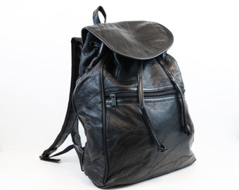 Vintage Black Leather Backpack