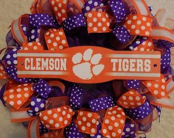 Clemson Wreath, Clemson Decor, Clemson TIgers Wreath, Clemson Tigers Decor. Clemson Wreaths, Clemson Tigers Wreaths, College Wreath