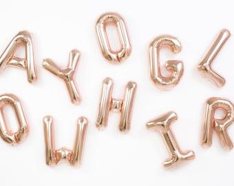 Rose Gold Letter Balloons / Mylar Foil Balloons / Wedding / Birthday / Baby Shower / Bridal Shower / Bachelorette / Engagement Party
