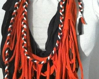 TRIBE Handmade Fabric Fringed Necklace, Red/Orange, Black, White