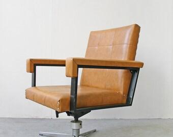 Vintage Orange Tan Leder Westdeutschen Executive Office Drehstuhl Mitte  Jahrhundert Modern Retro Sessel Rechteckige Studio Minimalistischen  Schreibtisch
