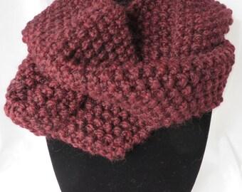 Hand Knit Infinity Scarf / Burgundy Infinity Scarf / Infinity Scarf / Chunky Scarf / Circle Scarf / Loop Scarf / Eternity Scarf / Scarf 103