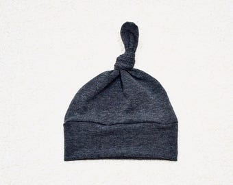 Cotton/Spandex Knit Heather Charcoal Gray, Boy/Girl, Baby/Toddler Hat, Baby Gift
