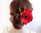 poppy hair flower, womens hair clips, red flower hair clip, red hair clip, red hair accessories, poppy clips, red and black hair flower
