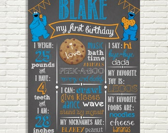 "First Birthday Chalkboard Sign 16x20"" Poster Cookie Monster Theme  Digital File ONLY"