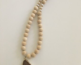 Agate Pendant Necklace - beaded, white, gold, long, statement necklace, neutral, ivory, tan