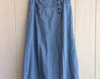 "Vintage Lizwear:  1980s denim skirt wrap style belt loops size 14 length 36"""