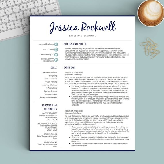 creative resume template for word and pages 1 2 and 3 page