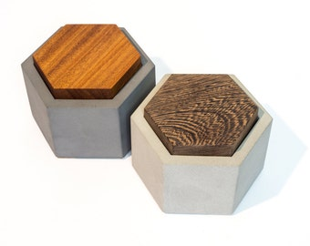 Hexagon Concrete Box with Wenge Cover / Jewelry Box / Mini Gift Box / Chef Gift