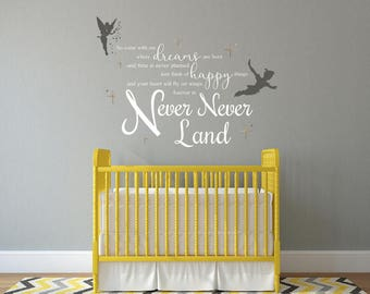 Neverland Wall Decal - Peter Pan Wall Decal - Removable Vinyl Wall Decal