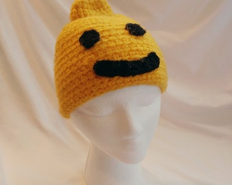 1980s/1990s Yellow Smiley Face Knit Beanie Cap Winter Hat