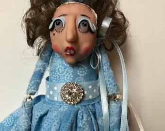 Cloth Doll, Wood Doll, Whimsical Doll, Polymer Clay Doll, Shabby Chic Lady, Doll with Bunny Ears