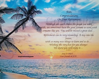 Retirement Personalized Tropical Sunset Art Print-Inspirational-Retirement Poem-8x10-Beach-Home Decor-Gift for Her-Gift for Him