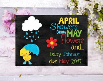 pregnancy announcement card april showers may flowers spring  baby announcement card baby on the way pregnancy announcement baby card