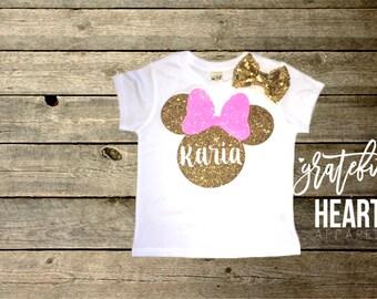 Pink Minnie Mouse shirt, Minnie mouse t-shirt, Personalized Minnie Mouse shirt, Custom disney shirt, Toddler Minnie mouse, Minnie Mouse bow