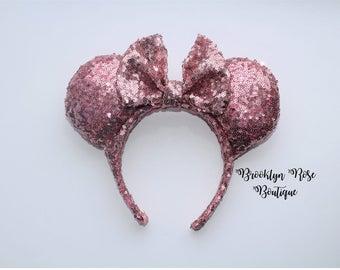 Princess Pink Sequin Mickey Minnie Mouse Ears Headband