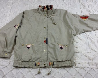 Be in the Current Seen sz M coat jacket windbreaker vtg nautical beige tan 80s 1980s