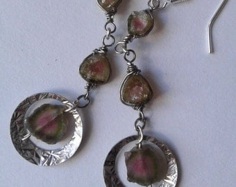 Watermelon tourmaline Earrings. Tourmaline Earrings.