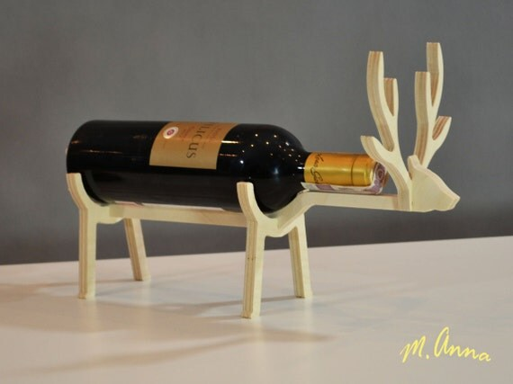 Wooden wine rack wooden wine holder unique wine rack wood - Wine rack shaped like wine bottle ...