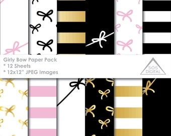 Girly Bow Paper Pack, Black Pink and Gold Digital Papers, stripes, bow tie, small commercial use, jpeg files, foil paper pattern