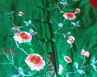 Beautiful green  embroidered hippie waistcoat 1970s tunic vest