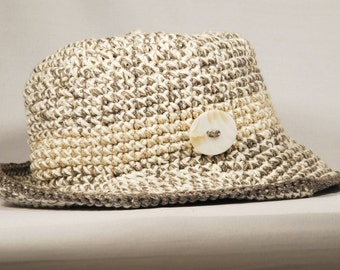 Hat with brim in pure cotton, white, beige and light brown, mother of Pearl button-handmade-crochet