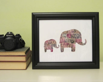 Purple Elephants Recycled Postage Stamp Wall Art: 8 x 10 - framed art - original art - vintage stamps - room decor- baby - nursery art