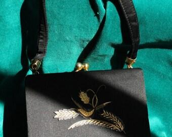 Square Spanish Black Satin Minaudiere 1960s Compact Evening Purse/Bag