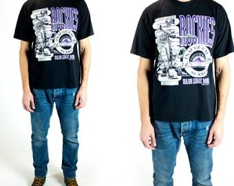 Vintage 1990s Colorado Rockies Inaugural Season Black White Purple Graphic T-Shirt Size L Large XL Extra Large