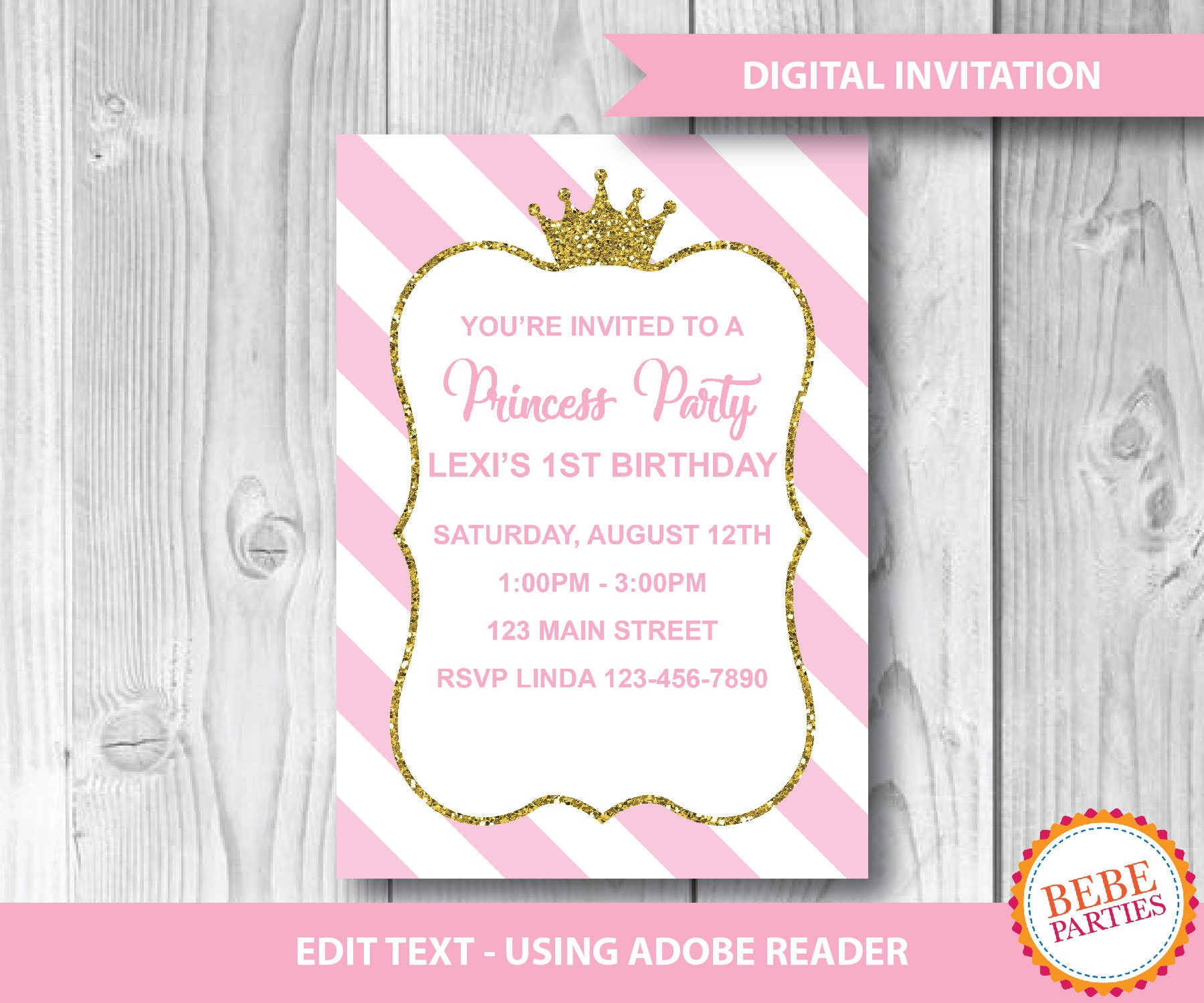 DIY Princess Gold Crown Invitation | 5x7 Invitations - 2 per page ...
