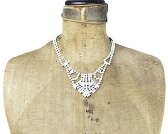Jay Flex Rhinestone Necklace, Sterling Silver Rhinestone Necklace, Rhinestone Bib Necklace, Sterling Silver Necklace